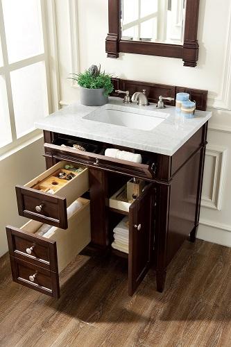 "Brittany 30"" Single Bathroom Vanity in Burnished Mahogany 650-V30-BNM from James Martin Furniture"