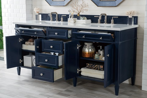 """Brittany 72"""" Double Bathroom Vanity In Victory Blue 650-V72-VBL from James Martin Furniture"""