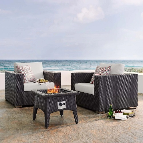 Convene 3 Piece Outdoor Patio Set With Fire Pit EEI-3727-EXP-WHI-SET from Modway Furniture
