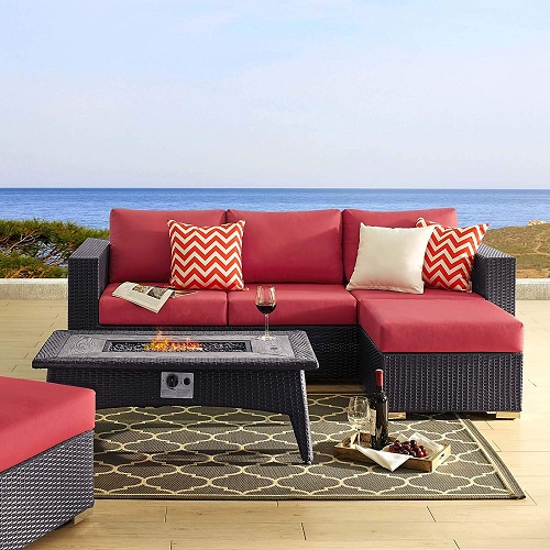 Convene 3 Piece Outdoor Patio Set with Fire Pit EEI-3724-EXP-RED-SET from Modway Furniture
