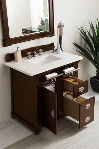 "Pasadena 36"" Single Bathroom Vanity in Brushed Mahogany 250-V36-BNM from James Martin Furniture"