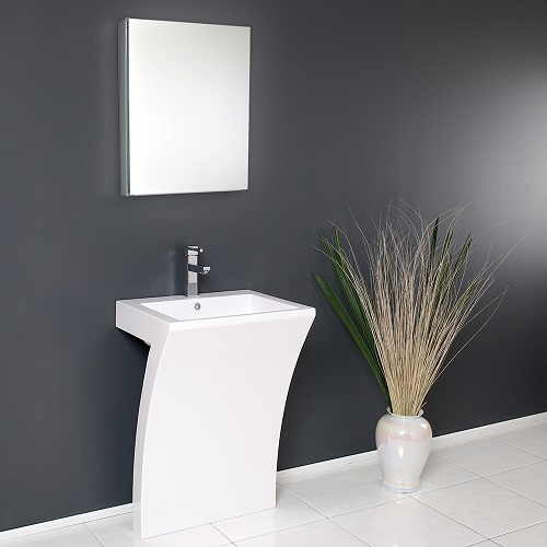 "Quadro 23"" White Pedestal Sink FVN5024WH from Fesca"