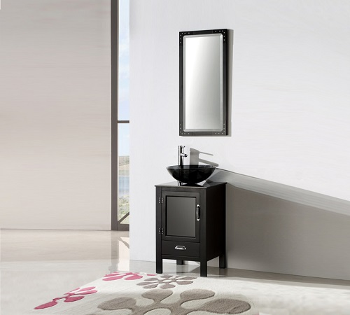 """18.5"""" Black Color Wood Sink Vanity With Glass Top WH5518-B from Legion Furniture"""
