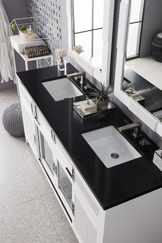 """Brisbane 72"""" Double Bathroom Vanity in Bright White with Black Quarts Top 516-V72-BW-3IBK from James Martin Furniture"""