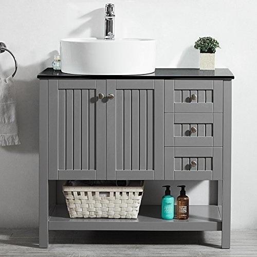 "Modena 36"" Bathroom Vanity in Grey With Glass Countertop 756036-GR-BG from Vinnova"