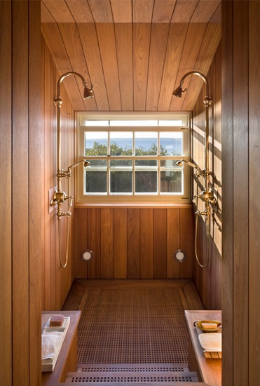 Some tropical woods are durable and water resistant enough to use in every part of your shower - including as the shower floor (by Ike Kligerman Barkley)