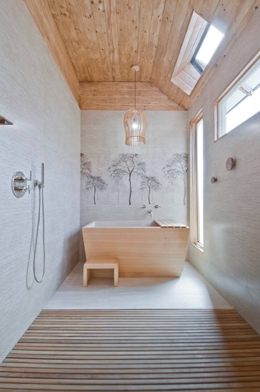 Wood bathtubs arrive ready-to-install, and require much less upkeep than you might think (by Concept Renovations, Inc.)