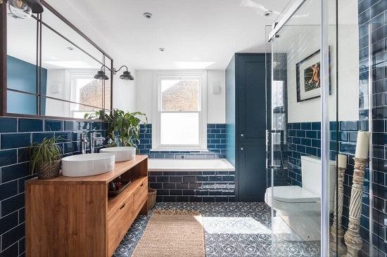You can get away with decorating a room almost entirly in Classic Blue, as long as you include at least one other element to keep the color from overwhelming the space (by MAC Building Solutions)