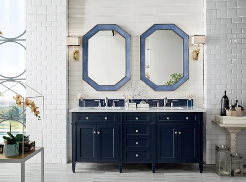 """Brittany 72"""" Double Bathroom Vanity in Victory Blue 650-V72-VBL-3CAR from James Martin Furniture"""