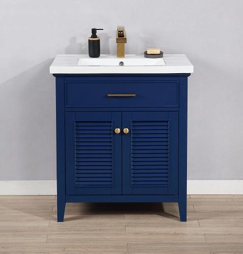 "Cameron 30"" Single Sink Bathroom Vanity in Blue S09-30-BLU from Design Element"