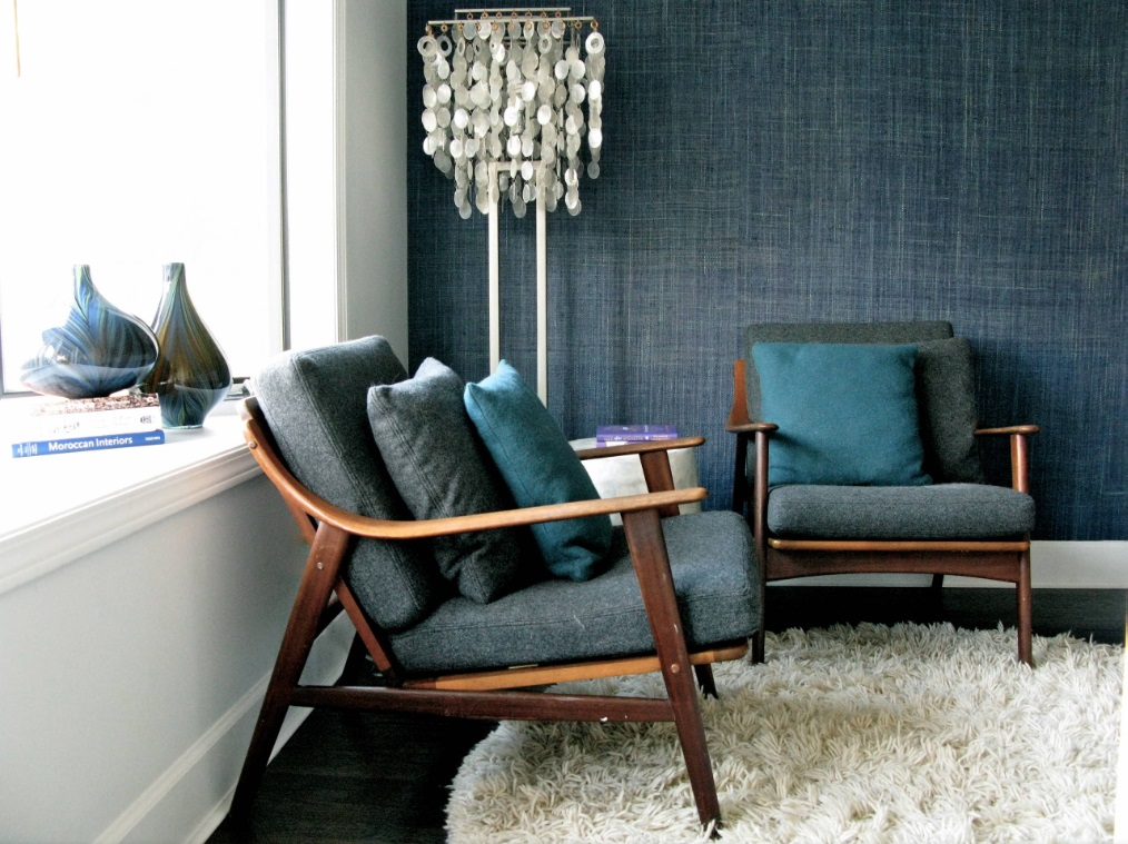Denim blue wallpaper is distinctly different from blue paint, offering a gorgeous depth of color and texture that makes a perfect accent wall (by Gaile Guevara)