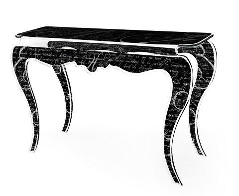 Handwriting Opera Console Table in Black with White Writing CNSL-OPERA-BLK from Acrila