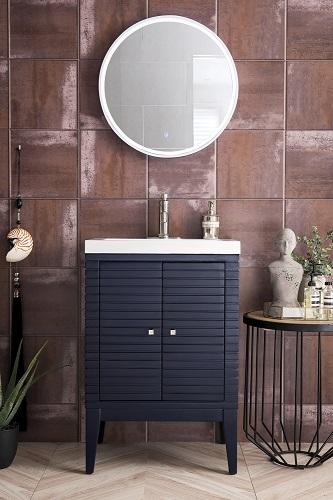 """Linden 24"""" Single Vanity Cabinet in Navy Blue E213-V24-NVB from James Martin Furniture"""