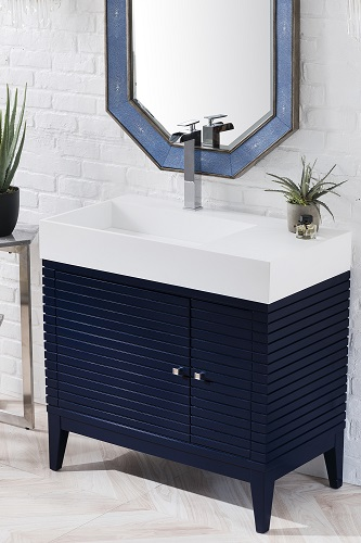 "Linear 36"" Single Bathroom Vanity in Victory Blue 210-V36-VBL from James Martin Furniture"