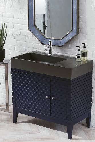 "Linear 36"" Single Bathroom Vanity with Glossy Dark Gray Solid Surface Top 210-V36-VBL-DGG from James Martin Furniture"