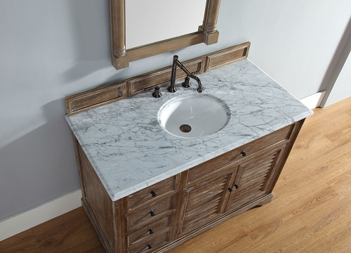 "Savannah 48"" Driftwood Single Bathroom Vanity with 3cm Carrara Marble Top 238-104-5211-3CAR from James Martin Furniture"