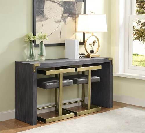 Have A Small Entryway Add Seating To Your Entry Table - Sofa Table With Stools Underneath