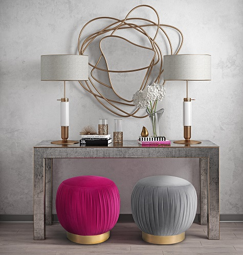 Tulip Pink Velvet Ottoman OTTOMAN ONLY CDF-O113 from Contemporary Design Furniture