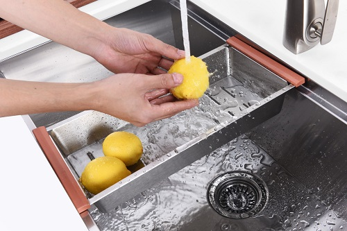 Workstation sinks are typically large, modern, stainless steel sinks paired with a variety of interchangable accessories designed to sit securely on the lip of the sink and add extra functionality and work space
