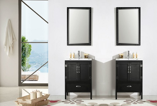 """24"""" Black Wood Sink Vanity With Ceramic Top WH5624-B from Legion Furniture"""
