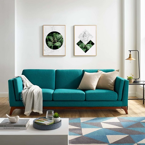 Chance Upholstered Fabric Sofa in Teal EEI-3062-TEA from Modway Furniture