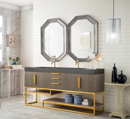 "Columbia 72"" Bathroom Vanity with Radiant Gold Hardware 388-V72D-AGR-RG-DGG from James Martin Furniture"