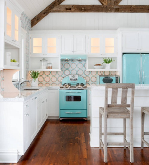 From bold modern colors to an impressive resurgence of vintage blues, colorful appliances are becoming a popular way to make your kitchen design pop (by Karr Bick Kitchen and Bath)