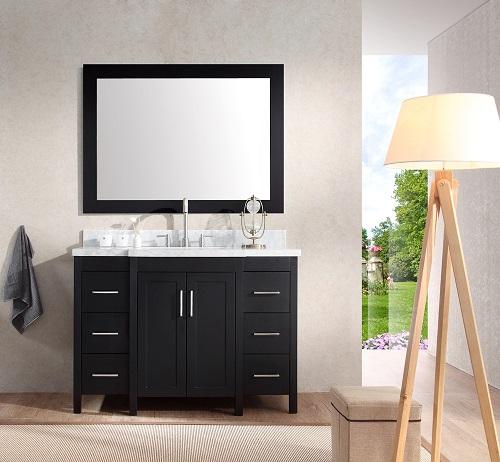 """Hollandale 49"""" Single Sink Bathroom Vanity Set in Black from Ariel"""