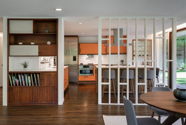 Simple room dividers help reintroduce things to your greatroom that you don't know you need until they're missing: privacy, sound dampening, storage space, and even just a simple sense of compartmentalization (by Stephen Moser Architect)