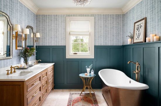Classic cottage bathrooms are almost always depicted as all or nearly-all white, but with the popularity of more colorful bathrooms on the rise, it's time to re-imagine this iconic look (by Gina Sims Designs)