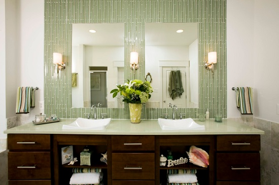 Colorful, glossy, glazed or glass tile is the perfect remedy to an all-white bathroom, whether you opt for a bold color or something softer and more earthy (by John F. Heltzel)