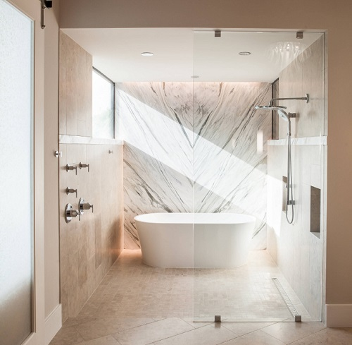 Seamless spa showers are a personal getaway, designed specifically to help you relax and unwind (by Winfrey Design Build)