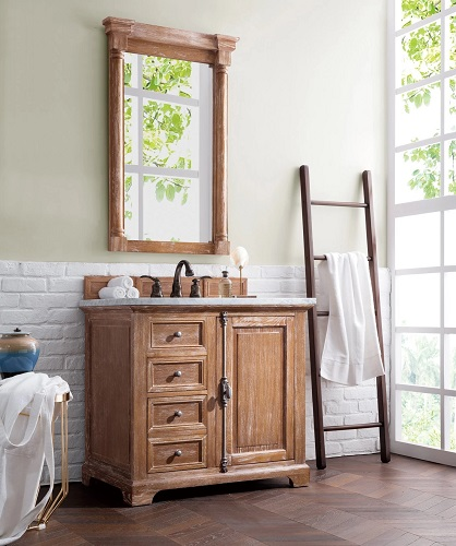 The style of the wood vanity you choose matters a whole lot less than the tone of the wood itself - a light, bright wood tone can elevate any room, regardless of the design