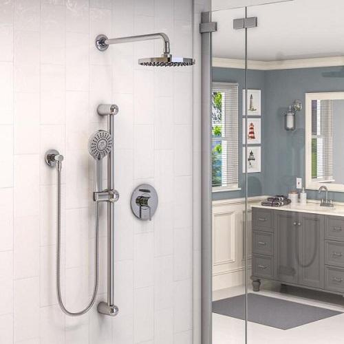 Belanger Sleek Round Rain Faucet Plu Dual Function Shower Head KIT-DEL130CCP in Polished Chrome from Keeney
