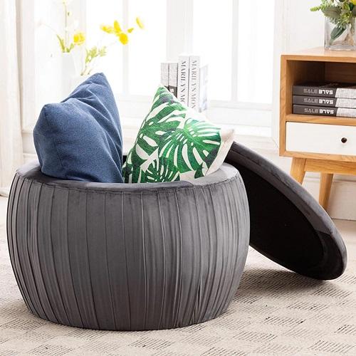 Fleur Grey Velvet Storage Ottoman CDF-OC3842 from Contemporary Design Furniture