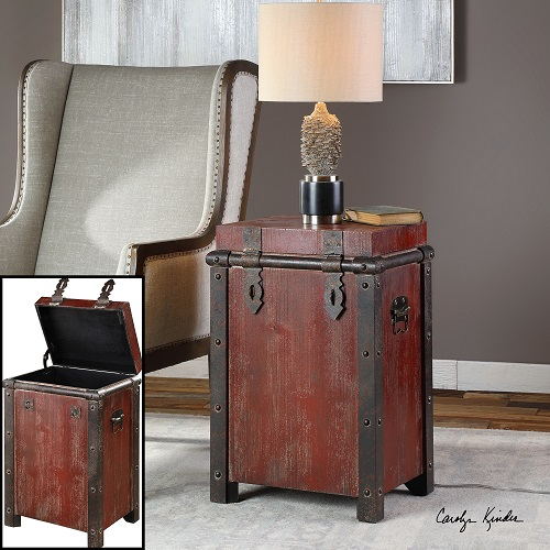 Isaac Wine Red Accent Table 24815 from Uttermost