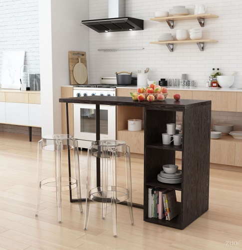 Brooklyn Storage Bar Table in Gray and Brass 100815 from Zuo Modern
