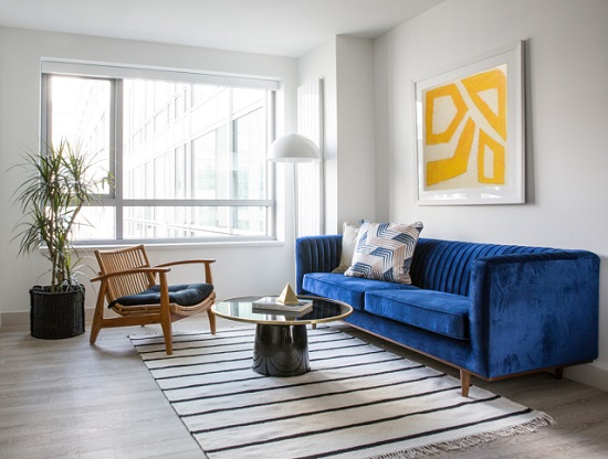 Colorful furniture, bold artwort, and distinctive accent pieces can make a so-so rental space sine with your personality (by Sun Soul Style Interiors)