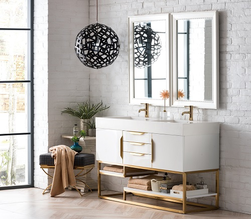 "Columbia 59"" Double Bathroom Vanity in Glossy White and Radiant Gold 388-V59D-GW-RG-MW from James Martin Furniture"