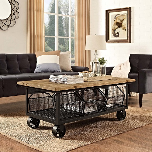 Fairground Coffee Table in Brown EEI-2644-BRN from Modway Furniture