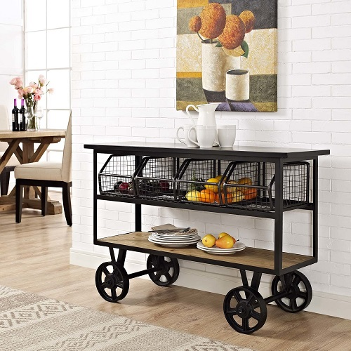 Fairground Serving Stand in Brown EEI-2642-BRN from Modway Furniture