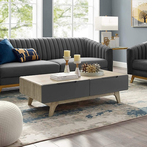 """Origin 47"""" Coffee Table In Natural Gray EEI-2995-NAT-GRY from Modway Furniture"""