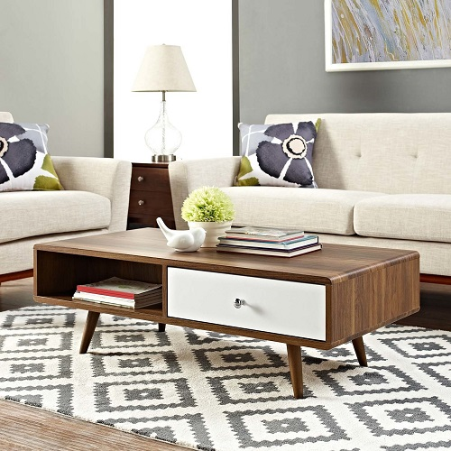 Transmit COffee Table EEI-2528-WAL-WHI from Modway Furniture