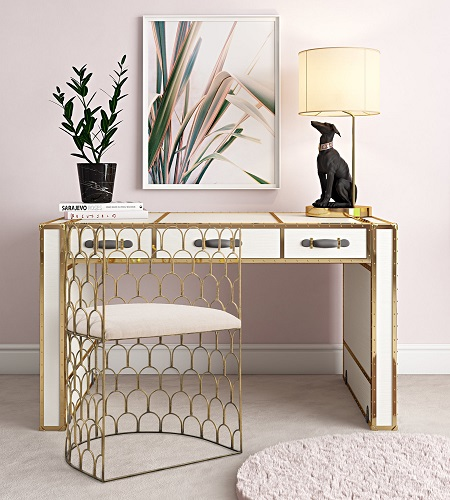 Abby Metal Chair in Gold, Beige TOV-A174 from TOV Furniture