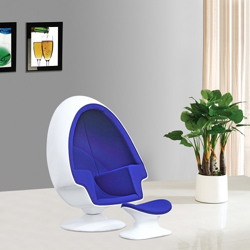 Alpha Egg Chair and Ottoman in Blue FMI1113-Blue from Fine Mod Imports