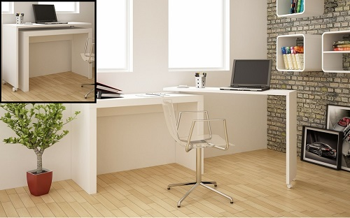 Calabria Nested Desk in WHite 33AMC6 from Manhattan Comfort