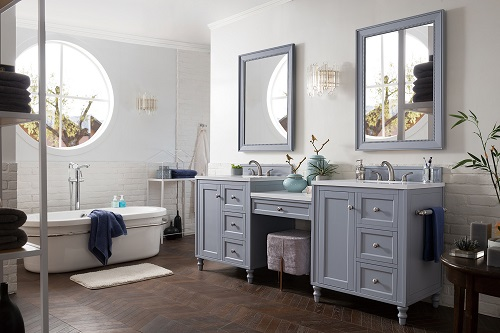 """Copper Cove Encore 86"""" Double Bathroom Vanity Set in Silver Gray with Makeup Table 301-V86-SL-DU-3CLW"""