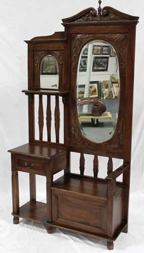 Hall Stand IN-25 With Seat And Oval Mirror from Harris Furniture