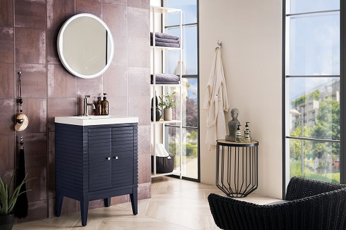"Linden 24"" Single Vanity Cabinet in Navy Blue E213-V24-NVB from James Martin Furniture"
