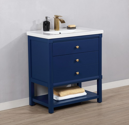 "Logan 30"" Single Sink Vanity in Blue S07-30-BLU from Design Element"